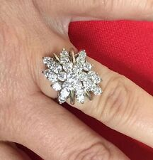 Huge Sterling Silver Waterfall Cz Cocktail Dinner Ring Sz 8