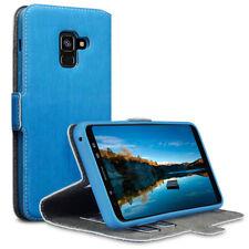 Galaxy A8 2018 Folio Billetera Cuero Estuche Soporte de múltiples funciones Gris Azul