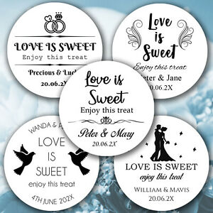 Personalised LOVE IS SWEET Wedding Favour Sticker Round Labels Sweet Party Cone