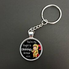 You're My Knight In Shining Armour Pendant On A Split Ring Keyring Gift N830
