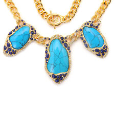 De Buman 18K Yellow Gold Plated & Turquoise Necklace