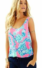 NEW Lilly Pulitzer COSMOS Silk Top Pink Pout Barefoot Princess SIZE XS X-SMALL
