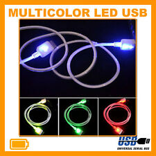 Multicolor LED Micro USB Data Charger Cavo per HTC LG Samsung Galaxy S3 S4