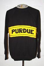 VTG Purdue University Boilermakers Black Crewneck Sweatshirt w Knit Sweater XL