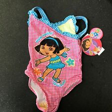 Nickelodeon Girls Pink Blue Polka Dot Dora One-Piece Swimsuit 3T NWT