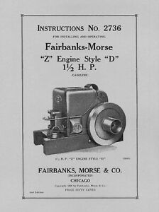 Fairbanks Morse 1.5 HP Style  D  Instructions No. 2736