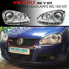 GOLF MK5 HEADLAMPS CHROME SILVER INC HID KIT GTI TDI PROJECTOR BALL UK SELLER