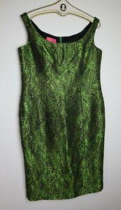 ESCADA COUTURE - WOMEN'S EMERALD GREEN BROCADE SHEATH DRESS - SIZE 44 - NWT