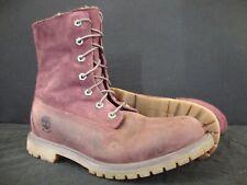 Timberland Teddy Fleece Waterproof Suede Combat Boots 9.5 Purple Prince