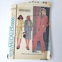 McCalls Carefree Patterns 5695 Misses Jacket Skirt Pants Size 16 Uncut FF 1977