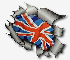 Metal RASGADO RASGADO Look Diseño Y Union Jack Bandera Británica Vinilo Coche Pegatina Calcomanía
