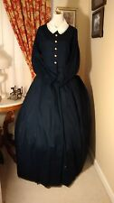 Civil War Reenactment Ladies Day Dress Size 18 Navy Blue Solid