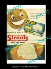 OLD LARGE HISTORIC STREETS ICE CREAM ADVERTISEMENT PHOTO, 1960