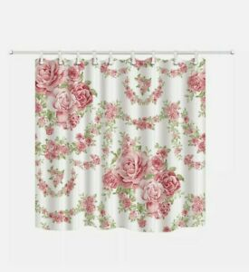 """Pink Roses Floral Bathroom Shower Curtain with White Hooks Garden 70"""" x 70"""""""