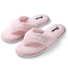 b9d74166dcfb Aerusi Women Pink Soft Plush Slippers Fluffy Thong Flip Flop Splash Spa  Slippers