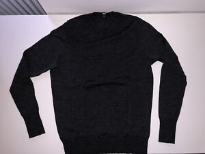 UNIQLO Damen Pullover aus 100% Merino Wolle Gr. L Dunkelgrau