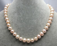 Fashion Women's 9-10mm Natural Pink Freshwater Cultured Pearl Necklace 18'' AAA