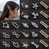Chic Girl Pearl Crystal Geometric Hair Clip Hairband Bobby Pin Barrette Hairpin