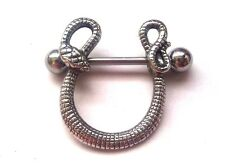 Snake Serpent Round Dangle Nipple Shield Ring Bar body piercing jewellery