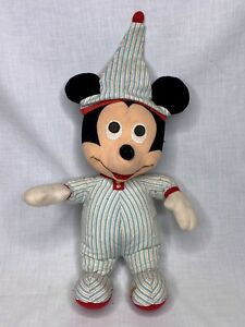 """Vintage Mickey Mouse Disney Plus in striped PJ's 14"""" tall"""