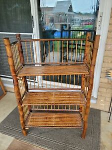 BOHEMIAN MID-CENTURY MODERN HANDCRAFTED BAMBOO & CANE 3 TIER FOLDING SHELVES