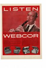 VINTAGE 1957 WEBCOR FONOGRAF BENNY GOODMAN CLARINET RECORD PLAYERS AD PRINT