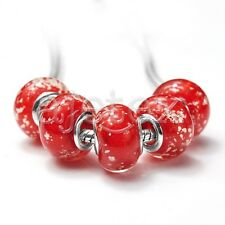 5/10pcs Murano Glass Beads Lampwork Fit Charms European Bracelet 2Size LB4