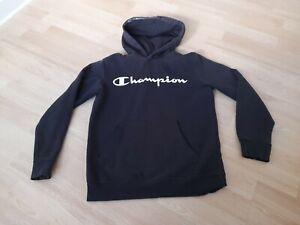 Boys Black Champion Hoody top age 11 - 12 Years hoodie over head jumper JD Sport