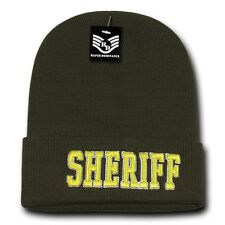 Olive Green Sheriff Cop Embroidered Beanie Long Police Winter Knit Ski Cap Hat