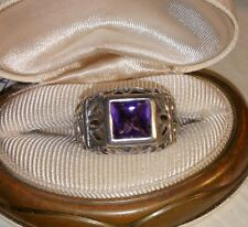 Ross Simons Sterling silver checkerboard Bezel Amethyst scroll cut out wide Ring