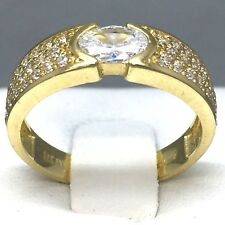 "STUNNING 9CT YELLOW GOLD ""CUBIC ZIRCON"" ETERNITY RING  SIZE ""M½""   104A"