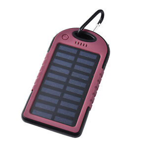 Burgundy Carabiner Solar 5000 mAh Battery Charger with USB Emergency LED Torch