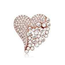 ITALINA 18K GOLD PLATED & CLEAR CUBIC ZIRCONIA & WHITE PEARL HEART BROOCH