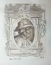 Ritratto PIERO DI COSIMO incisione in rame originale del 1771 Vasari Vite