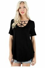 Sexy Women's Short Sleeve Strappy Front Cut-out Long Tunic Casual Tee Shirt Top