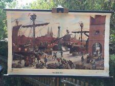 Alte Rollkarte Schulwandkarte Lehrtafel Loft Industrie Hanseatischer Hafen (12)
