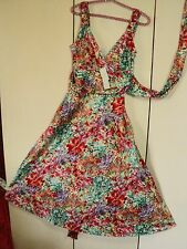 basque  floral vintage 1950s style tea dress stretch cotton NWT  monet print