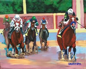 HORSE RACING 2020 Kentucky Derby Original Art PAINTING Authentic DAN BYL 4x5ft