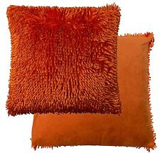 """TWO TONE ORANGE SHAGGY CHENILLE TWIST THICK SUPERSOFT CUSHION COVER 17"""""""