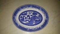 VINTAGE WASHINGTON OLD WILLOW PATTERN LARGE OVAL SERVING PLATE 12 1/2 INCHES
