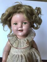 "Shirley Temple Doll 1930s 16"" Composition Ideal w/ Orig Dress Under  Dress Shoes"