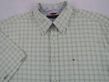 9894bc5a Tommy Hilfiger Men's 100% Cotton S/S Button Down Green Plaid Dress Shirt -