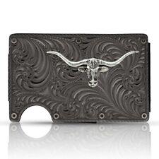 Montana Silversmiths Gunmetal Longhorn Credit Card & Cash Case CRCARD3
