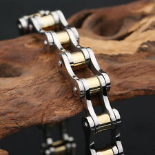 Gold Silver Women Men Motorcycle Bike Chain Design 10mm Stainless Steel bracelet