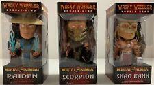 Funko Mortal Kombat Wacky Wobbler Set 3 Bobble Heads Scorpion Raiden Shao Kahn