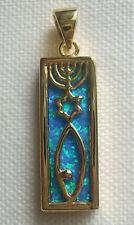 Jewish Messianic 18K Gold 2 Microns  Rectangle Opal Background Messianic Roots