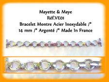 BRACELET MONTRE ACIER INOXYDABLE ARGENTÉ FEMME /* 14 mm  REF.VE01