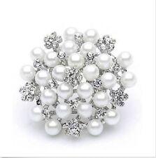 White Faux Pearl Diamante Rhinestone Crystal Sparkly Flower Brooch
