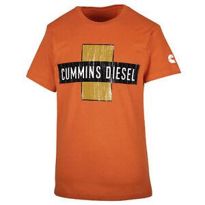 Cummins dodge short sleeve t shirt top orange vintage distressed cross MEDIUM