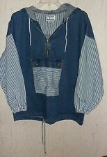 EXCELLENT WOMENS ACCORDEON 1/4 ZIP DISTRESSED BLUE JEAN JACKET   SIZE M